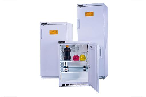 Laboratory cabinets with a spark-free refrigerator
