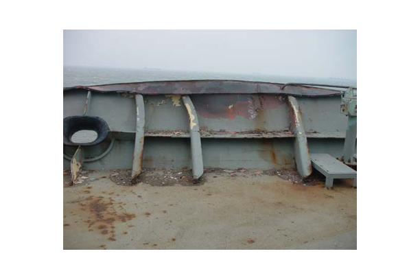 REPAIR OF DAMAGE FCLE DECK BULWARK